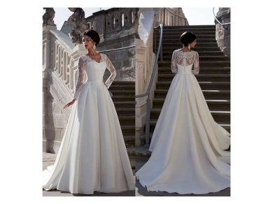 Luxusní svatební šaty s krajkovým topem s dlouhým rukávem