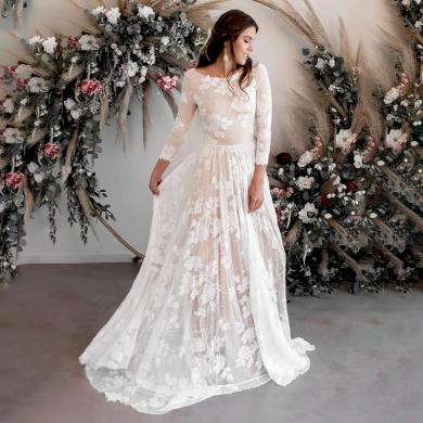 Romantické krajkové vintage svatební šaty s dlouhými rukávy