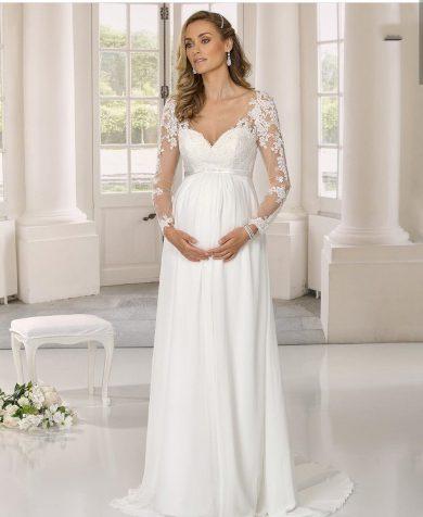 Krásné bílé krajkové svatební šaty s dlouhými rukávy pro těhotné nevesty