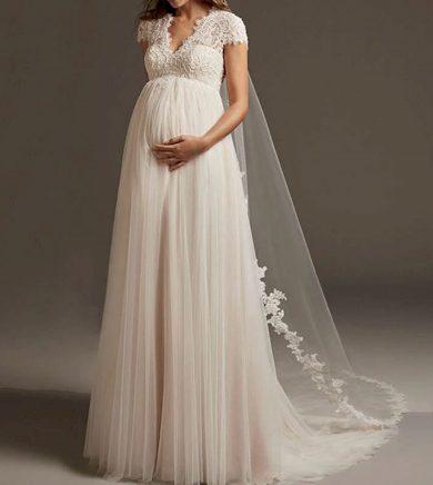 Krásné svatební šaty s krátkým rukávem pro těhotné nevěsty