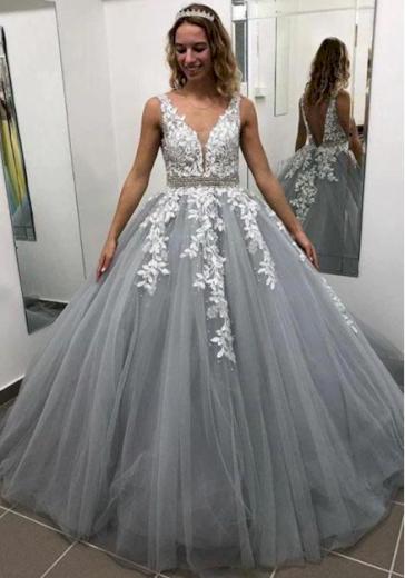 Luxusní plesové večerní dámské šaty s květinami