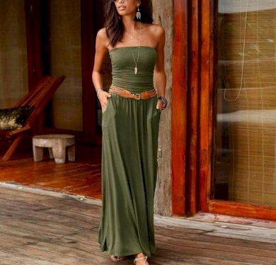 Maxi plážové volné dámské letní šaty s páskem