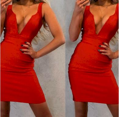 Mini červené moderní společenské šaty s výstřihem