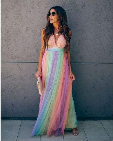 Nádherné letní duhové šaty