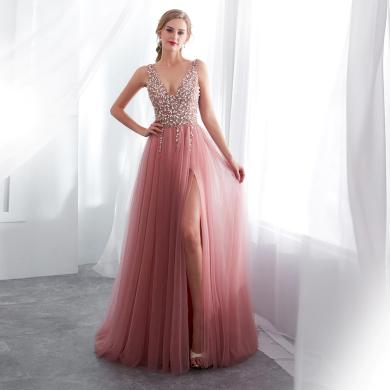 Luxusní růžové večerní šaty zdobené s kamínky
