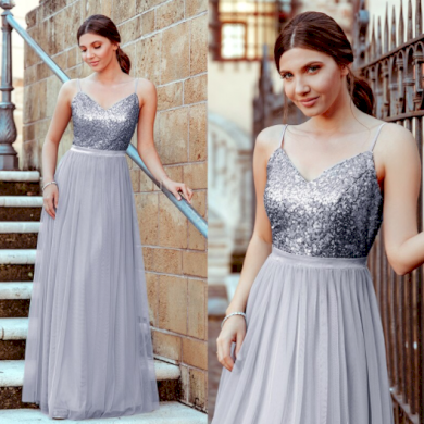 Večerní blýskavé nádherné dámské společenské šaty s flitry