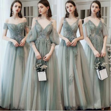Luxusní krajkové síťované dámské družičkovské šaty s dlouhým rukávem