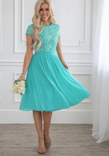 Plesové družičkovské dámské šaty s krajkou