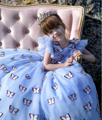 Motýlkové nádherné společenské dívčí šatičky VÝPRODEJ