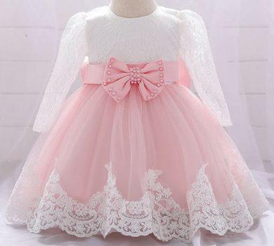 Luxusní krajkové dívčí společenský šaty s dlouhým rukávem