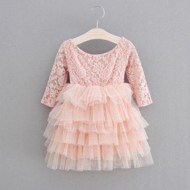 Báječné roztomilí dívčí společenský šaty s krajkovým vrškem s 3/4 rukávem a tutu sukni