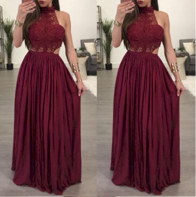 Krajkové dlouhé nádherné plesové společenské večerní šaty s límečkem