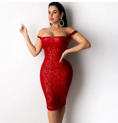 Zeštíhlující sexy flitrové večerní dámské šaty na ramena