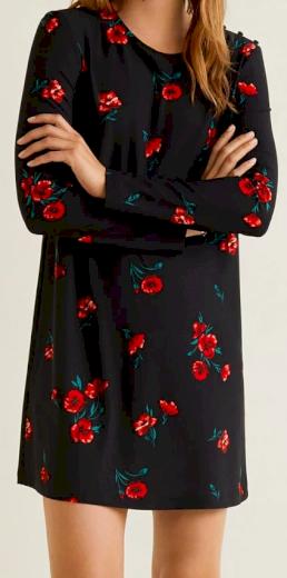 Dámské černé šaty s květy Mango