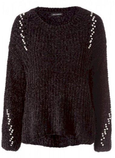 Dámský černý svetr s perličkami
