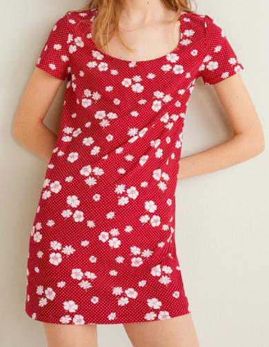 Dámské červené květované šaty