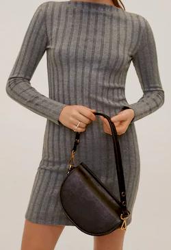 Dámské šedé úpletové šaty