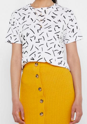 Mango bílé tričko s potiskem