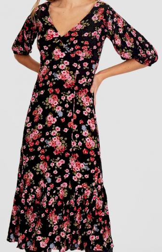 Stradivarius květované černé šaty