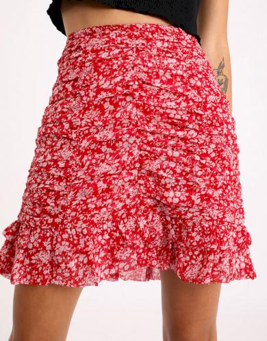 Dámská červená sukně s kvítky Pimkie