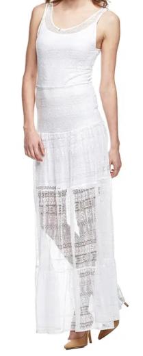 Dámské dlouhé bílé šaty Guess
