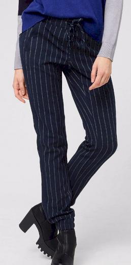 Dámské modré kalhoty s proužkem S.Oliver