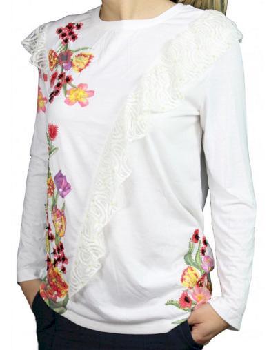 Dámská bílá Desigual halenka s květy