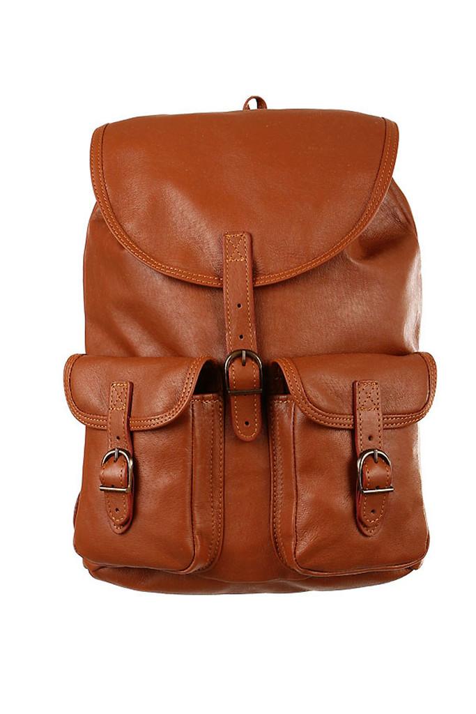 Velký dvoukapsový kožený batoh - Česká výroba