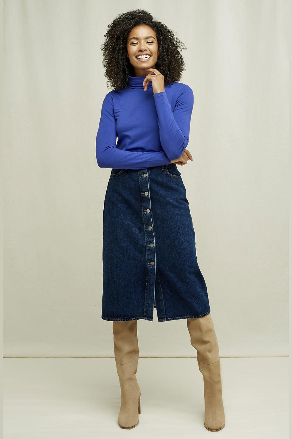 Propínací džínová sukně z biobavlny