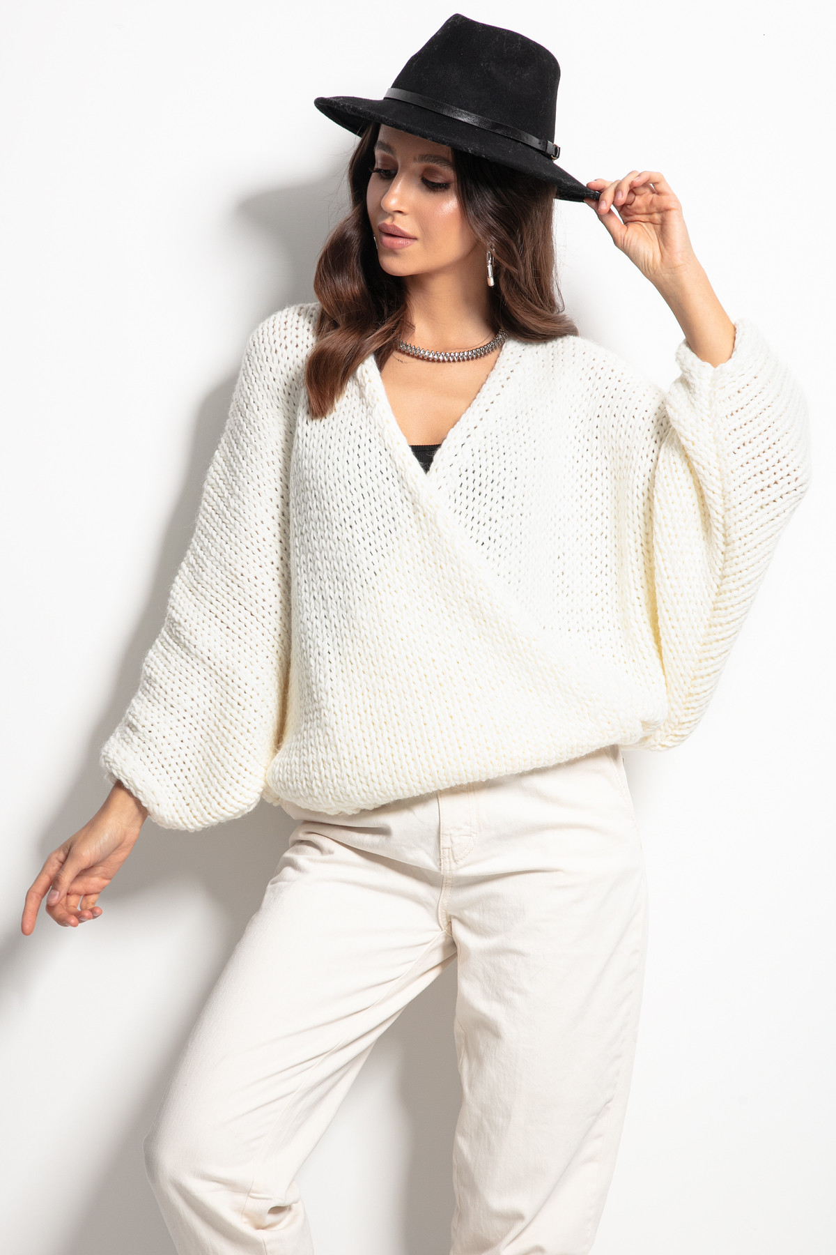 Zavinovací vlněný dámský svetr