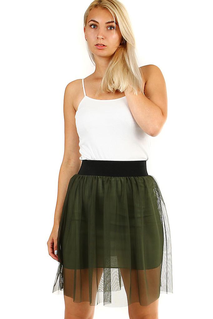 Krátká jednobarevná dámská tylová sukně