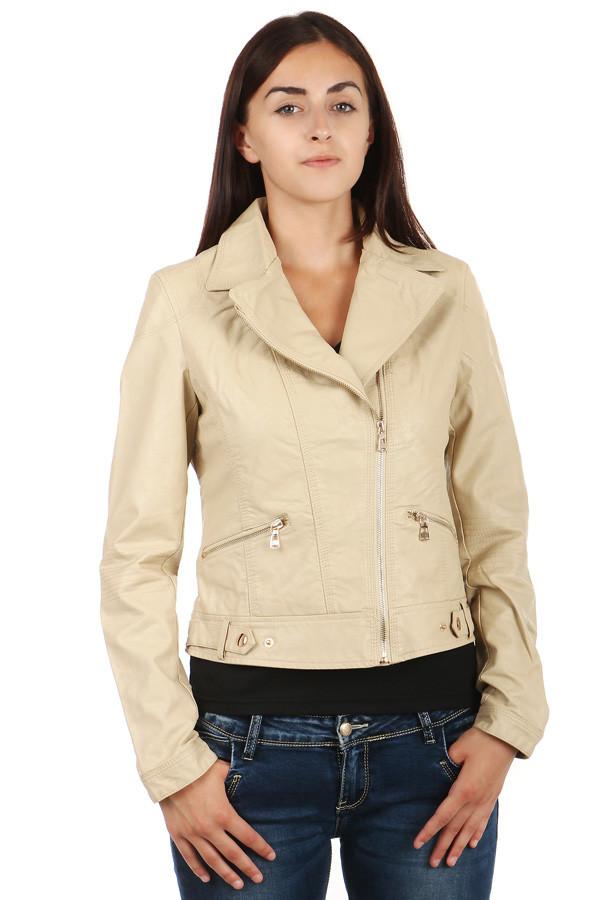 Koženková dámská bunda se zipem na straně