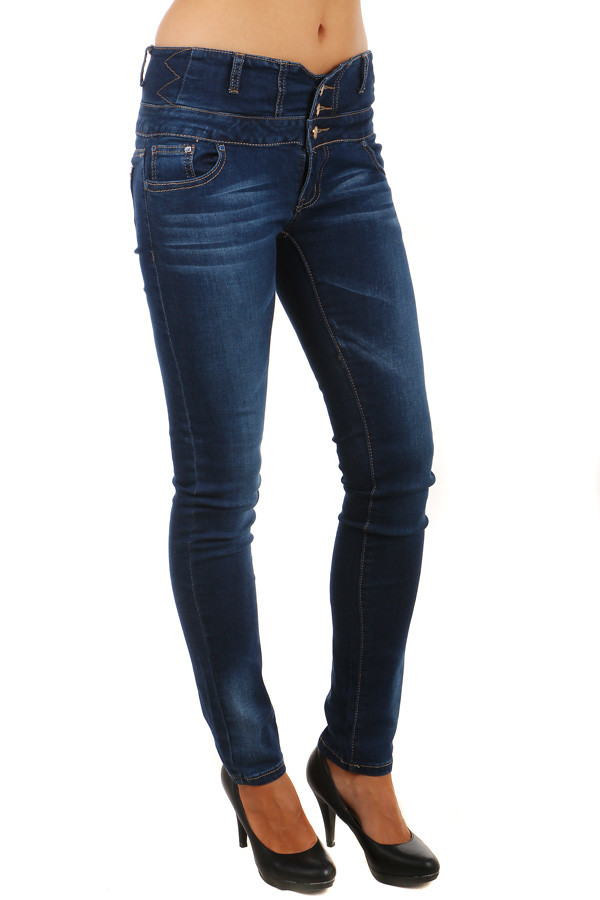 Dámské tmavé džíny -vysoký pas