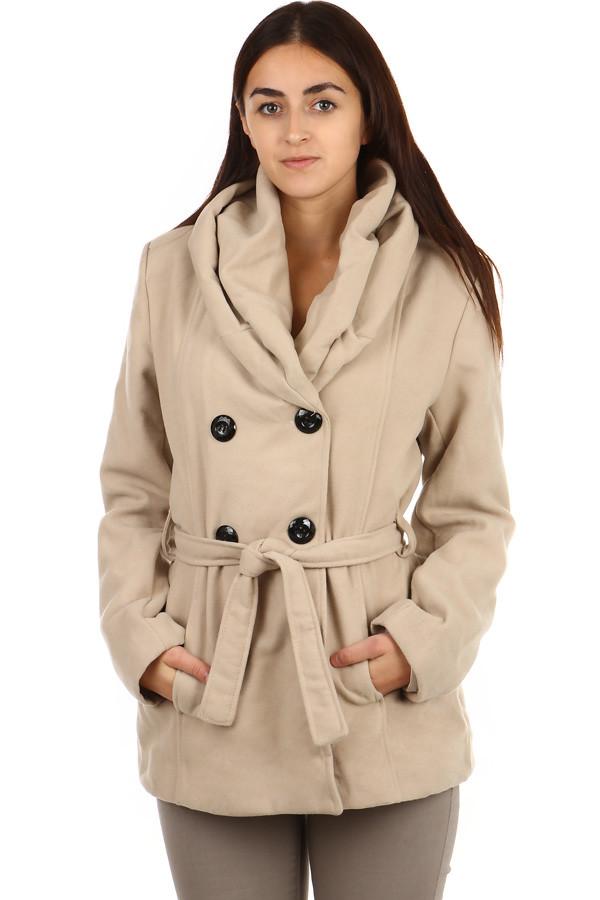 Dámský kabátek s dvojím límcem