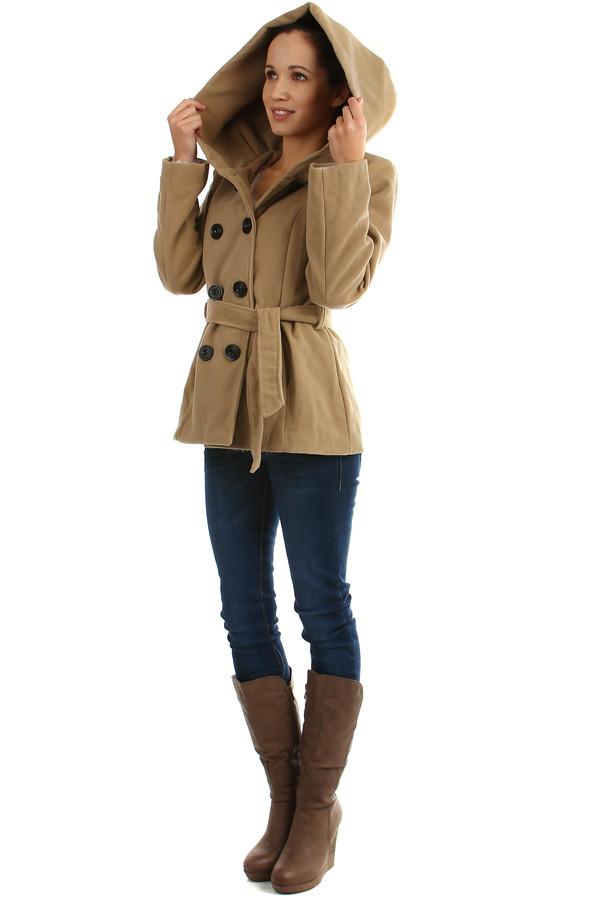 Dámský flaušový kabát s kapucí - i pro plnoštíhlé