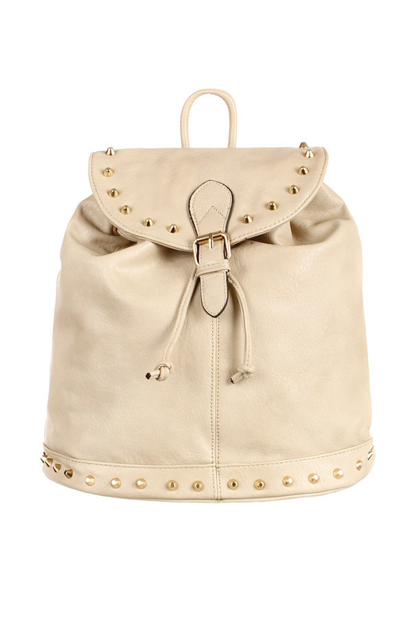 Dámský městský koženkový batoh se zlatými cvočky