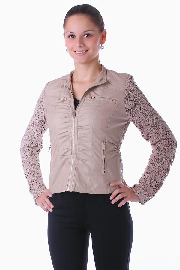 Dámská koženková bunda s krajkovými rukávy