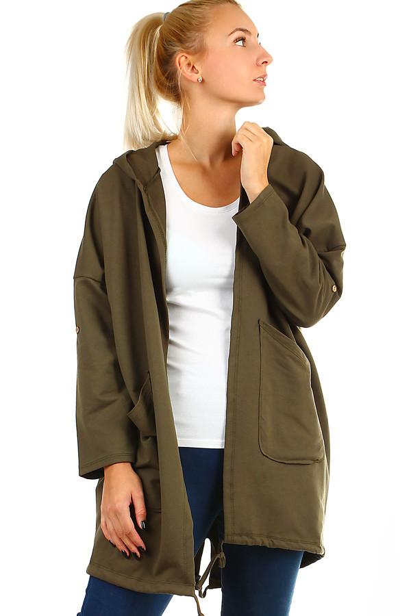 Dlouhý dámský kardigan s kapucí a potiskem na zádech