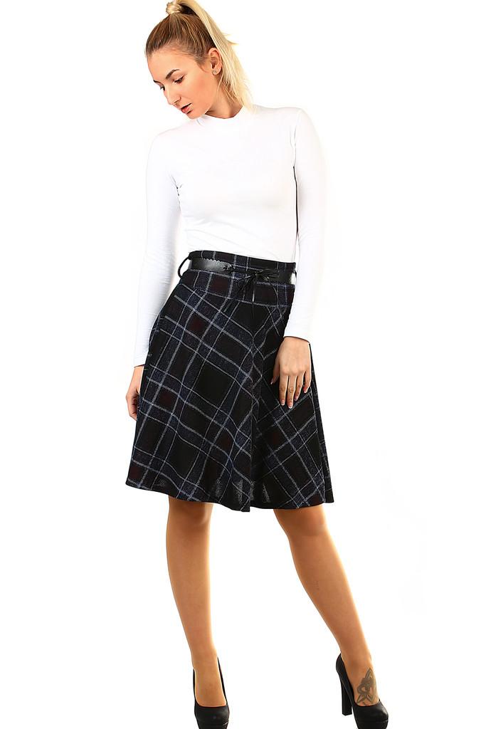 Károvaná dámská úpletová sukně