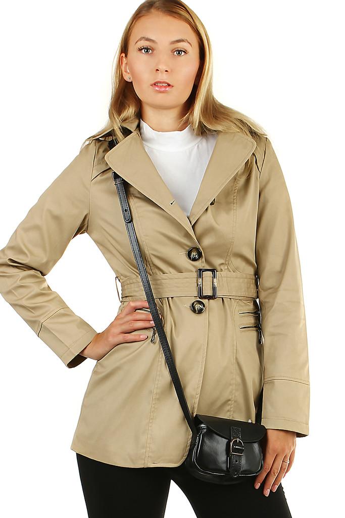 Dámský jednobarevný krátký kabátek trenčkot s přezkou