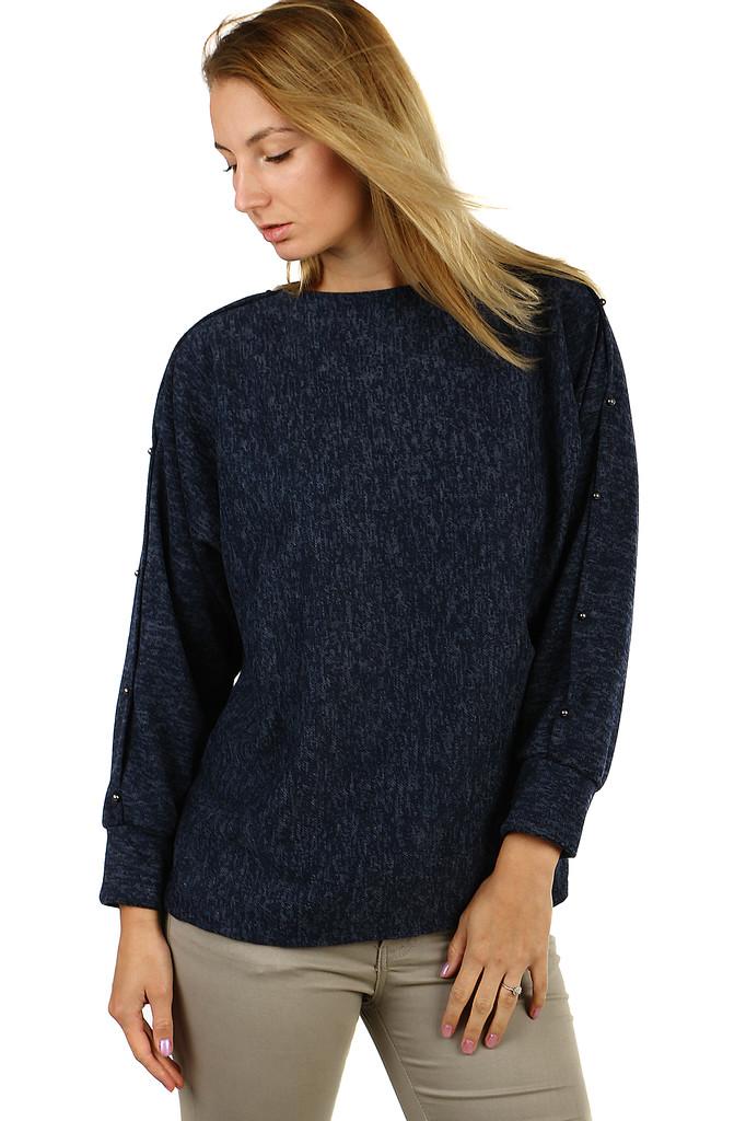 Melírované dámské tričko s průřezy a korálky