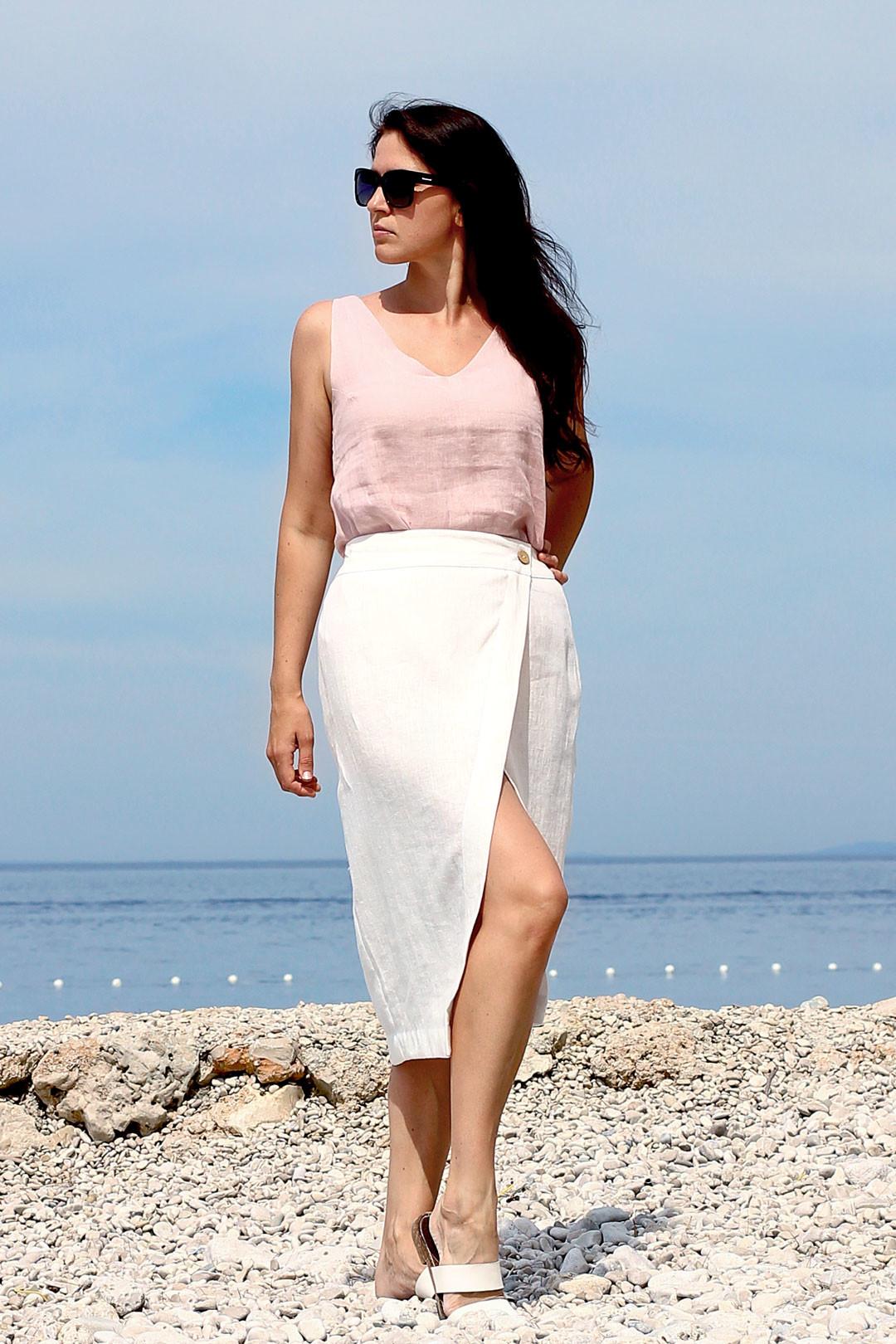 Zavinovací lněná midi sukně Lotika Premium quality