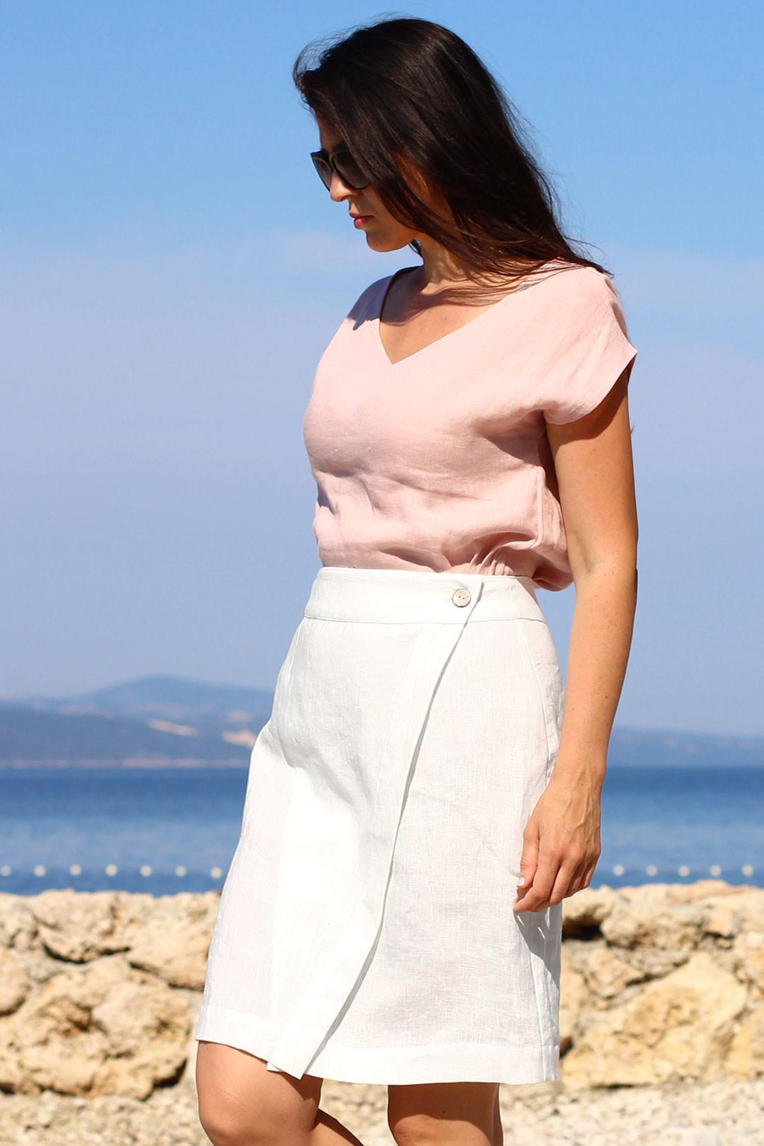 Zavinovací lněná sukně Lotika česká móda Premium quality
