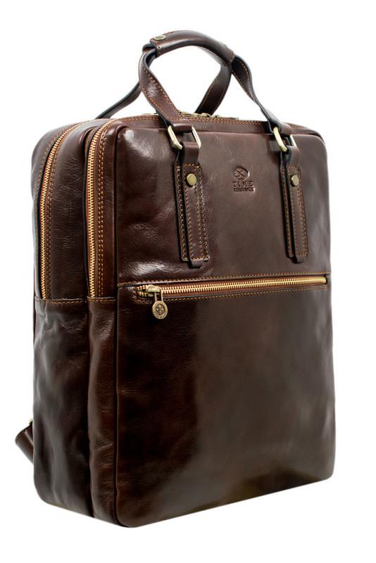 Prostorný kožený unisex batoh Premium collection
