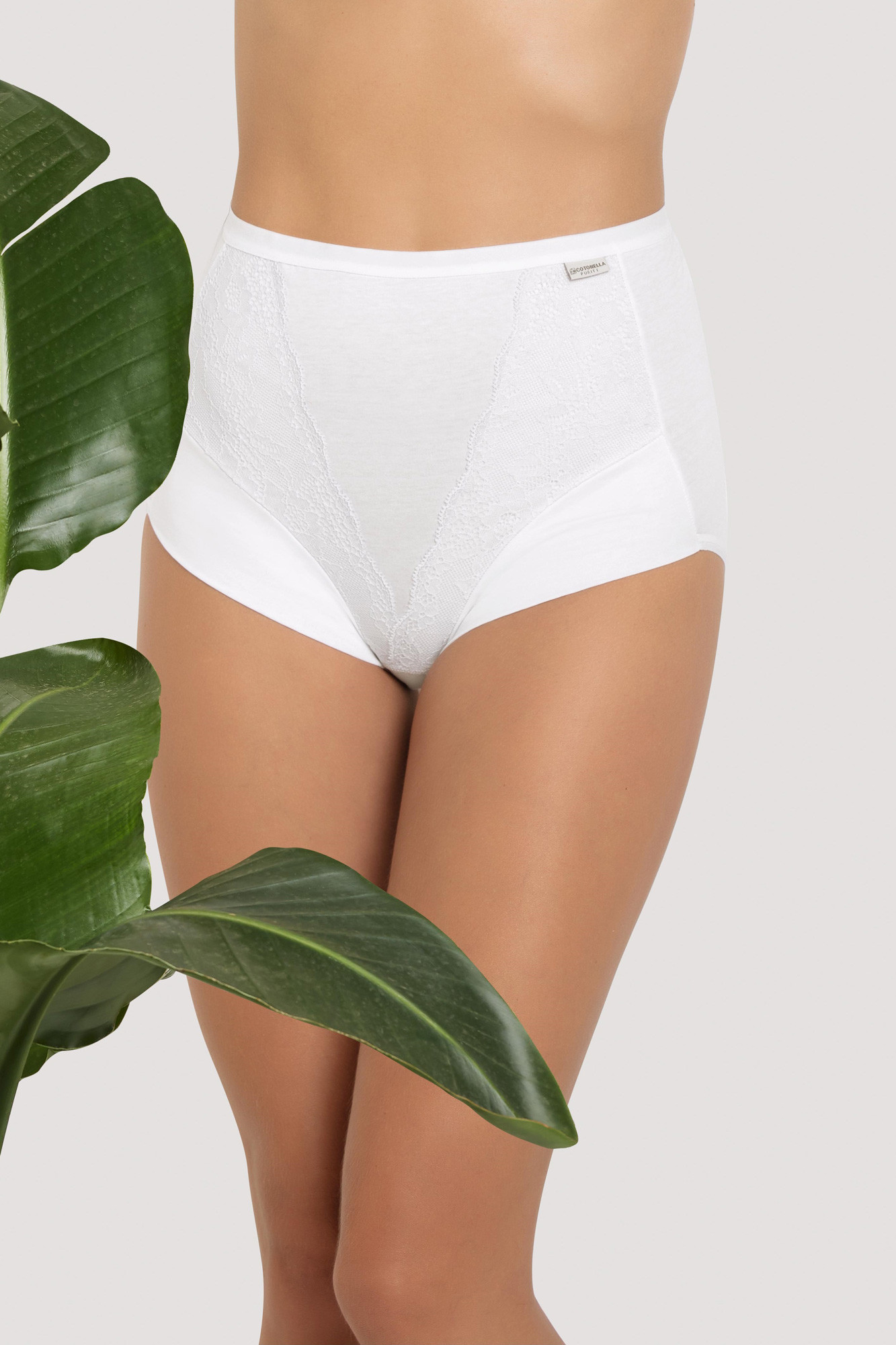 Krajkové kalhotky s vysokým pasem bio bavlna Purity