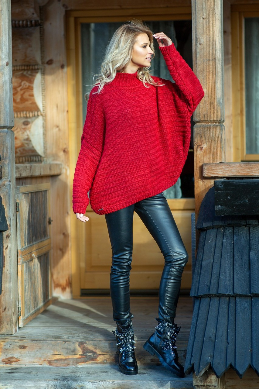Řádkovaný maxi svetr s vlnou