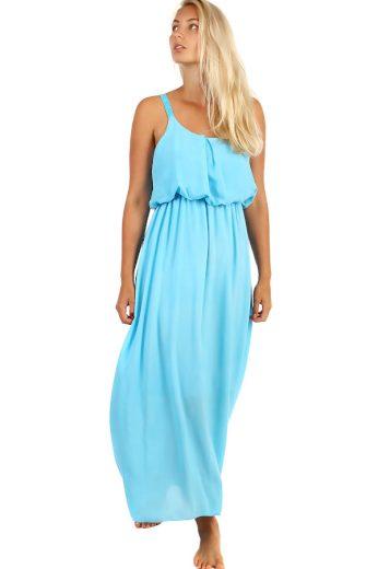 Letní jednobarevné plážové maxi šaty s krajkovými ramínky