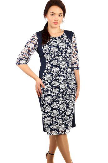 Květinové šaty s 3/4 rukávem - pro plnoštíhlé