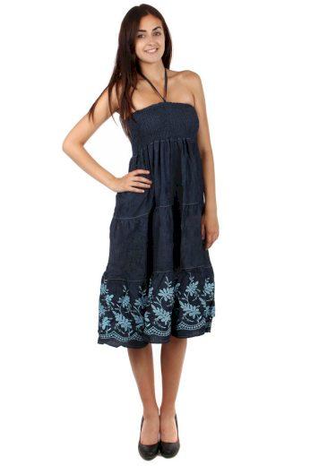 Vzdušné denimové šaty se vzorem