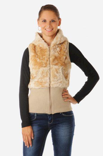 Dámská plyšová vesta s kapucí
